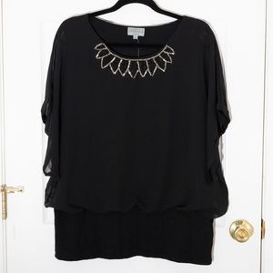 Joseph A Batwing Sleeve Top with Bead Detail 2x